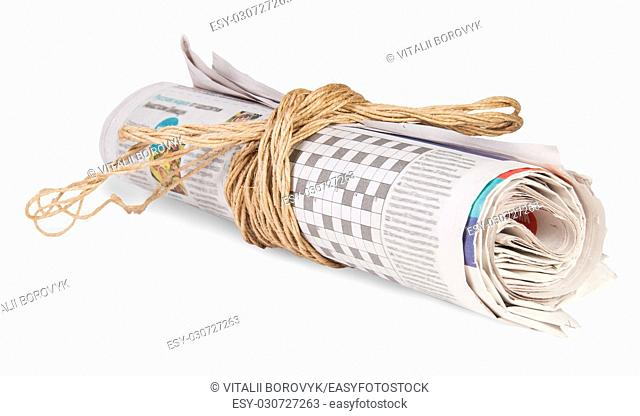Roll Of Newspapers Tied With A Rope Isoleted on White Background