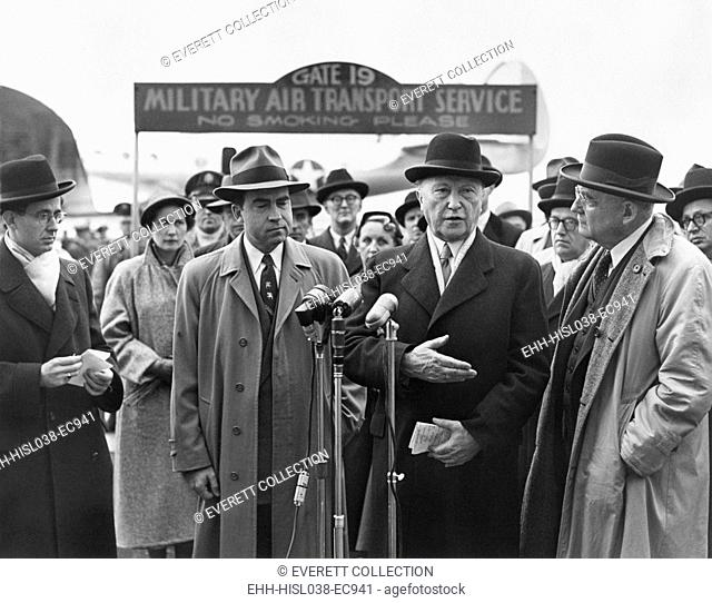 Richard Nixon, Conrad Adenauer, John Foster Dulles at Washington Airport. Adenauer was the first post-war Chancellor of Germany (West Germany) from 1949 to 1963