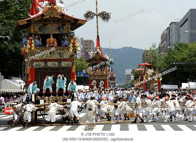 Japan, Kinki Region, Kyoto City, Kyoto Prefecture, People enjoying Gion festival