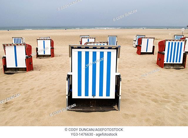 Beach chairs are Baltic beach, Mecklenburg-Vorpommern, Germany