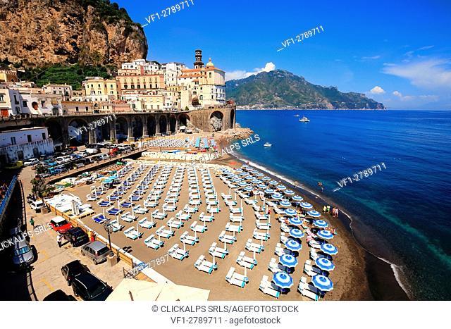 View of Atrani , small village inside Amalfi coast. Campania, Italy, Europe