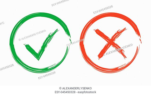 Check marks tick and cross icon. Vector illustration on white background. Business concept yes and no checkmark pictogram