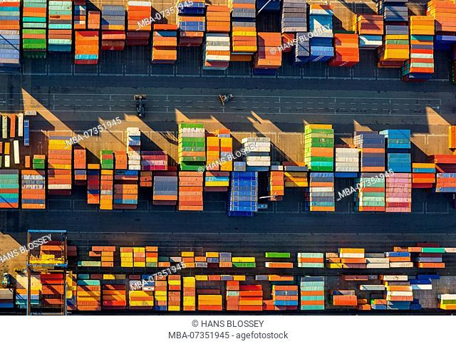 Stacked containers on Logport I, inland port, Rhine port, Duisburg port, Duisburg, Ruhr area, North Rhine-Westphalia, Germany