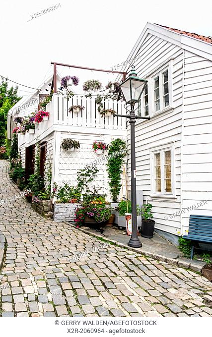 Street corner with lamp post in the old town area of Stavanger in Norway