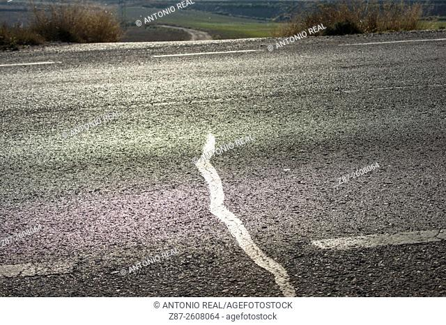 Road and path, Almansa, Albacete province, Castilla-La Mancha, Spain
