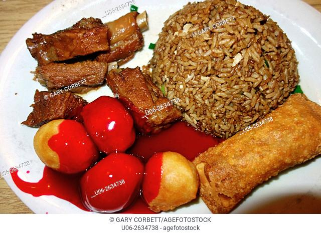 Chinese combo food on a plate