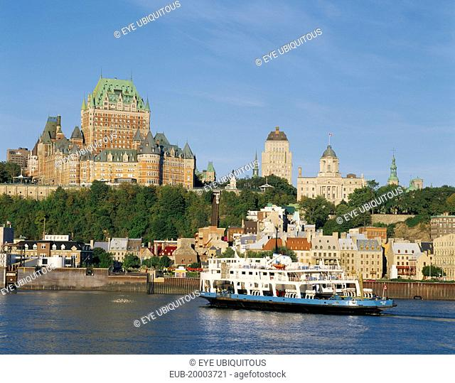 General view of Chateau Frontenac overlooking St. Lawrence Seaway