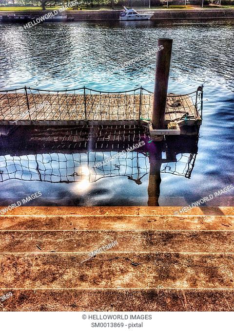 Steps on riverbank and floating embarkation platform