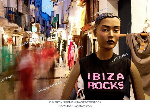 Night life in old town. Ibiza, Balearic Islands. Spain