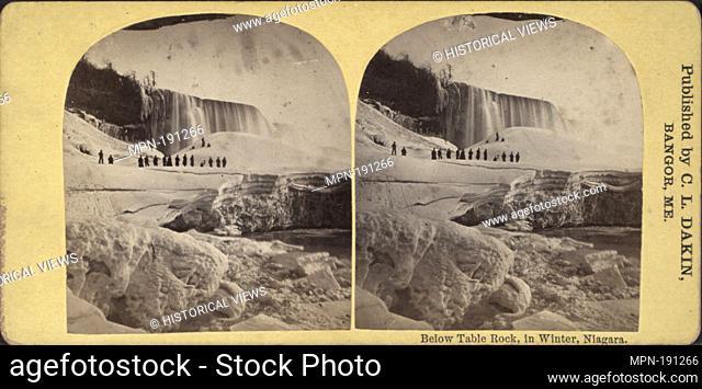 Below Table Rock, in winter, Niagara. Dakin, C. L. (1848-) (Publisher). Robert N. Dennis collection of stereoscopic views United States States New York Niagara...