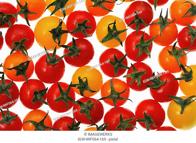 Yellow, orange and red cherry tomatoes on white background, close-up