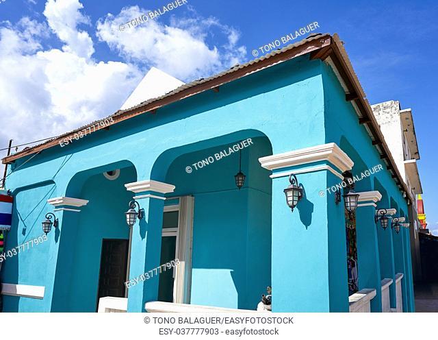 Cozumel island houses Plaza Punta Langosta in Mexico Mayan riviera