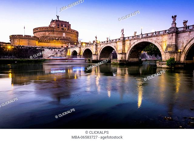 Rome, Lazio, Italy, Europe, View of the Ponte Sant'Angelo and Castel Sant'Angelo