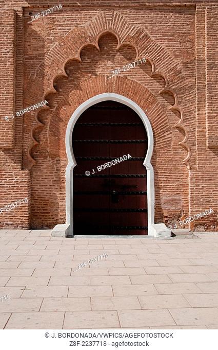 Koutoubia Mosque door detais in Marrakech medina, Morocco