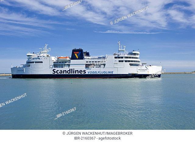 Scandlines ferry, Deutschland, at the ferry terminal, Puttgarden, Fehmarn Island, Baltic Sea, Schleswig-Holstein, Germany, Europe