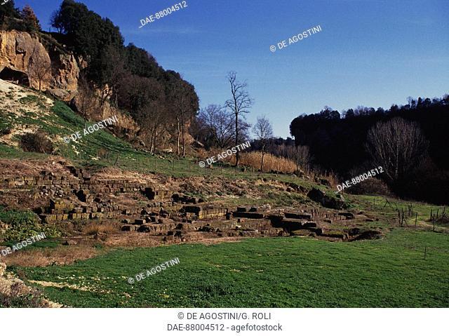 Ruins of the temple dedicated to Juno Curitis, Colle di Celle, Civita Castellana, Lazio, Italy. Faliscan civilisation, 6th-4th century BC