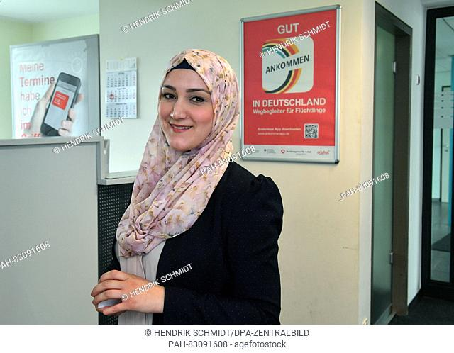 In front of the Job Center in Dessau the Lebanese language translator and interpreter Sahar Awada on 15 August 2016 in Dessau-Rosslau, Germany