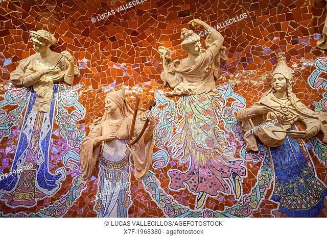 Palau de la Musica Catalana,detail of stage, by Lluis Domenech i Montaner, Barcelona, Spain