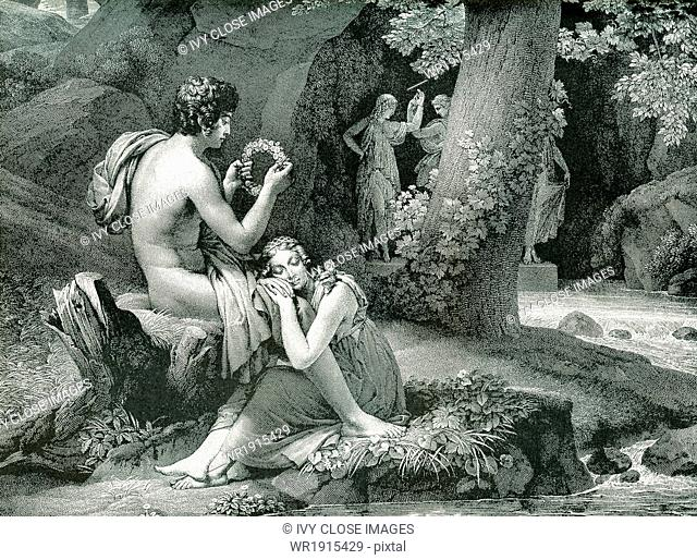 The tale of Daphnis and Chloe dates to the second century A.D. Greek writer Longus. Both Daphnis and Chleo had been exposed at birth by their respective parents