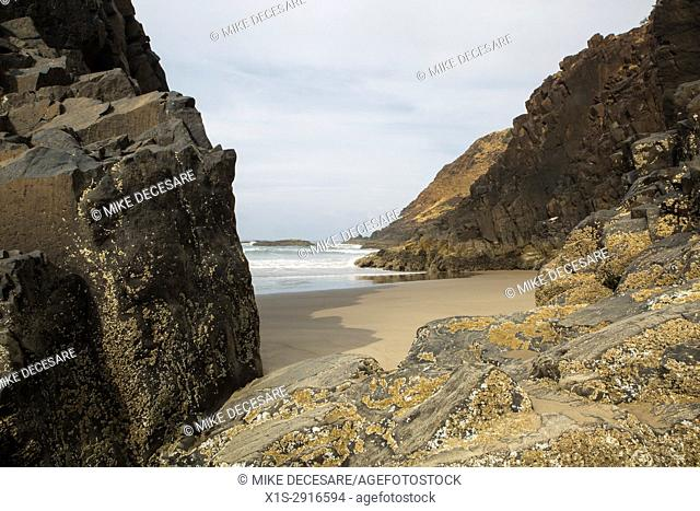 A deserted beach surrounded by rocks is a marine oasis away from the crowds along the Oregon Coast