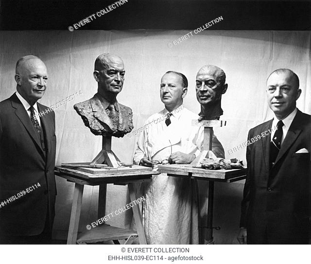 President Eisenhower and Former Governor Harold Stassen next to their portraits by sculptor Tregor. Stassen helped the President win them 1952 Republican...