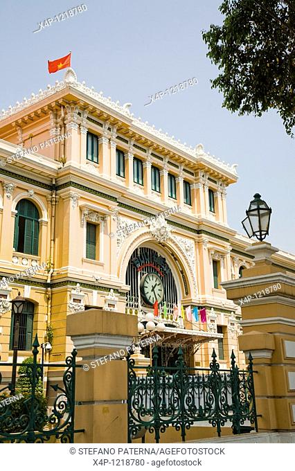 Old colonial post office along Dong Khoi in Ho Chi Minh City, Vietnam