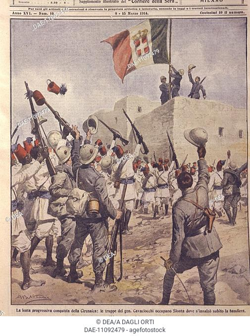 Italo-Turkish or Libyan war (1911-1912) - Italian troops progressively conquer Cyrenaica. Cover illustration from La Domenica del Corriere