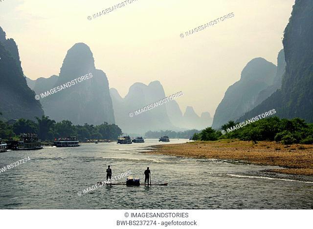 Li River Scenery with fishermen, China, Guilin
