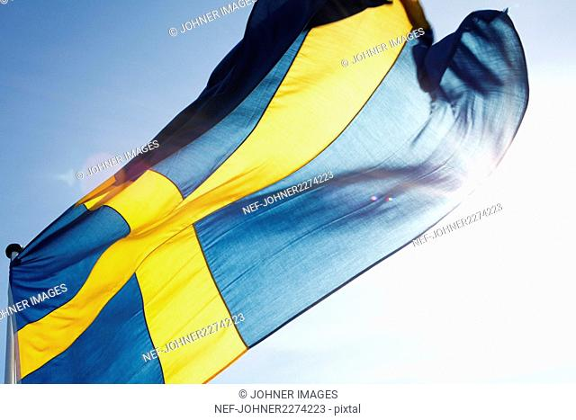 Low angle view of Swedish flag