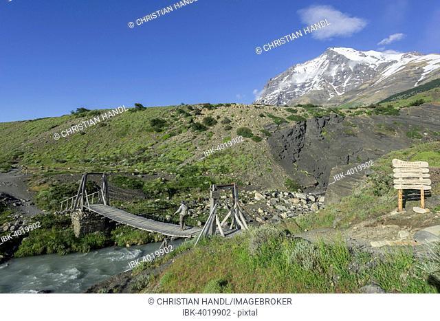 Suspension Bridge and Monte Almirante Nieto, Torres del Paine National Park, Magallanes y la Antártica Chilena Region, Chile