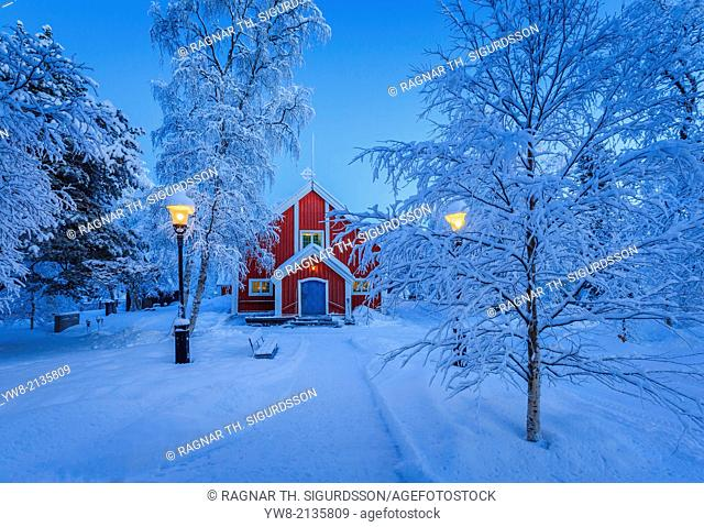 Small Wooden Church in Jukkasjarvi. Sweden. Cold winter with temperatures as low as -47 celsius. Lapland, Sweden