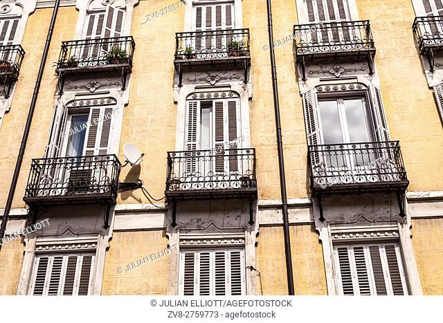 Ornate building exteriors in Madrid, Spain