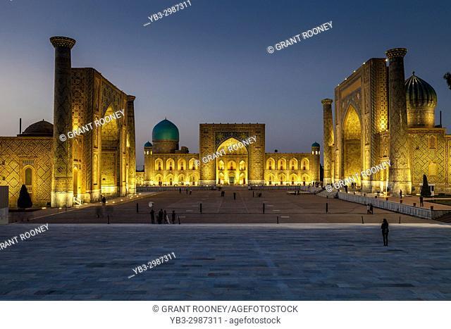 The Registan At Night, Photographed From The Viewing Platform, Samarkand, Uzbekistan