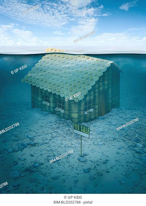 Illustration of house for sale underwater