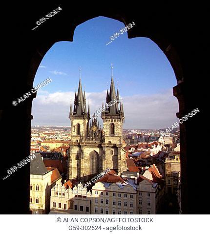 Tyn Church at Staromestské Namesti (Old Town Square). Prague. Czech Republic