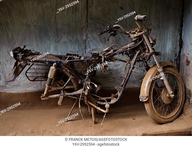 Dilapidated old motorcycle ( Bastar region, India)