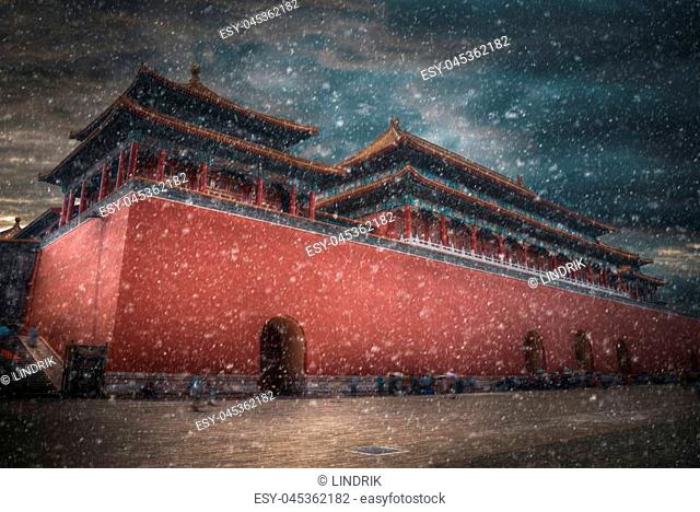 The Forbidden City is the largest palace complex in the world.snow goes in winter