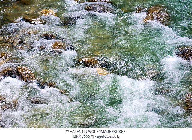Mountain river, Partnach, in the Partnach Gorge, Garmisch-Partenkirchen District, Bavaria, Germany