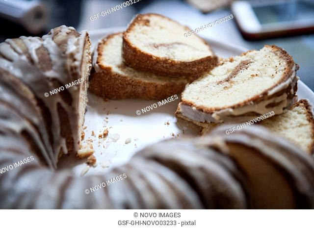 Sliced Sour Cream Coffee Cake with Maple Syrup Glaze