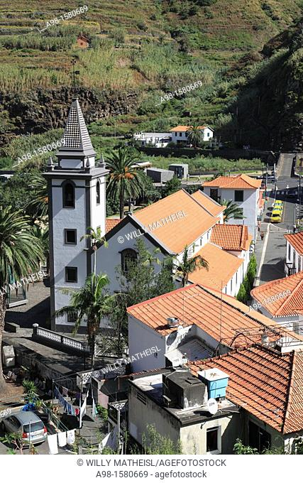 view from above of the village Sao Vincente on the island of Madeira, Portugal, Europe