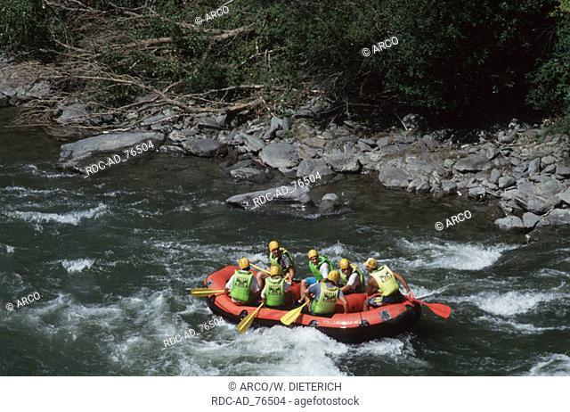 Rafting on river Rio Noguera near Rialb Catalonia Spain