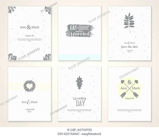 Set of bright romantic wedding invitations