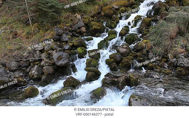 Waterfall. Eths Uelhs deth Jueu. Valle de Aran. Catalonia, Spain