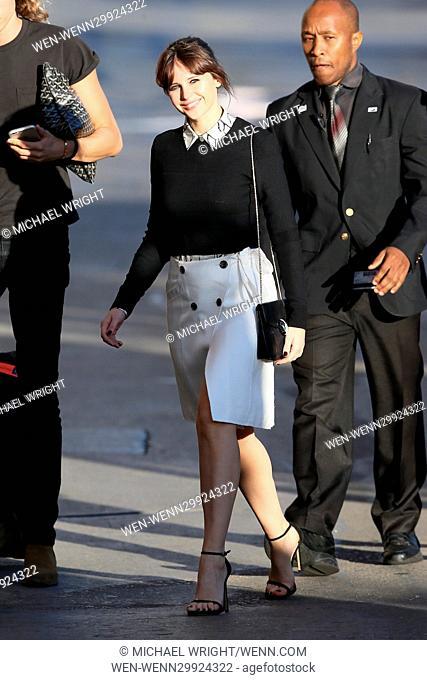 Felicity Jones seen arriving at the ABC studios for Jimmy Kimmel Live! Featuring: Felicity Jones Where: Los Angeles, California