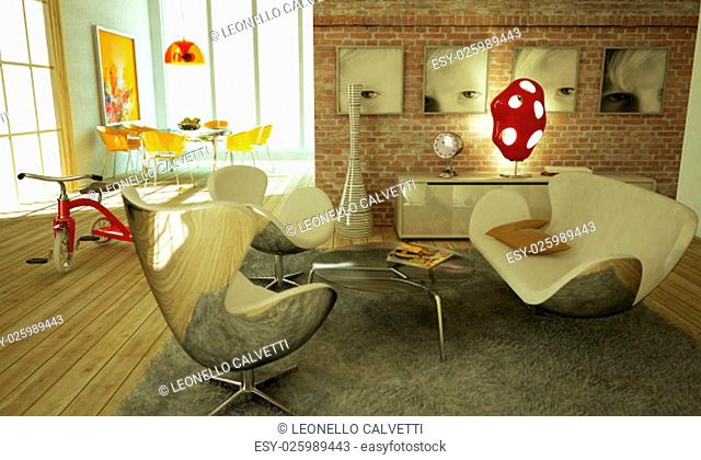 Modern livingroom, warm atmosphere, very stylish, with wooden floor and a re tricicle on a side