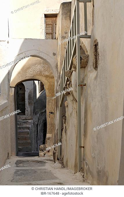 In the old part of the village there are no streets just narrow aisles, Emborio, Santorini, Greece