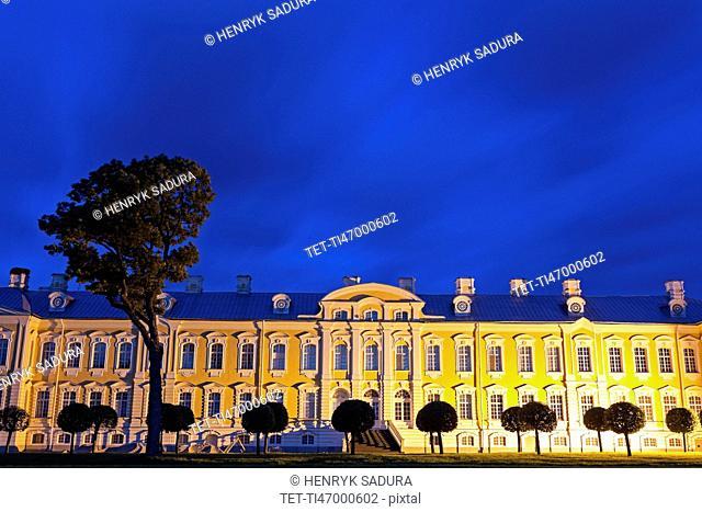 Illuminated facade against clear sky