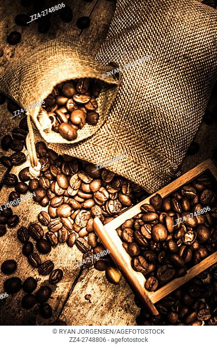 Closeup of roasted coffee beans spilling from wooden drawer and small bags. Bean harvest artwork