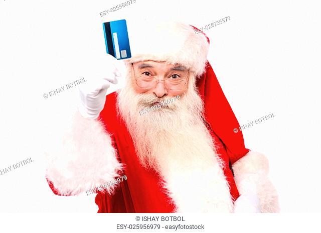 Father santa showing credit card