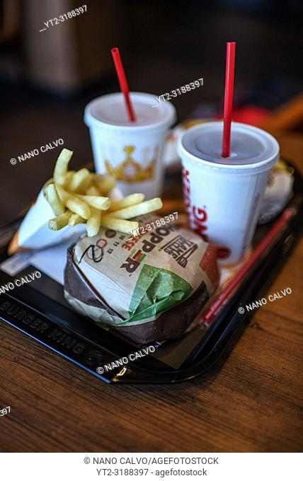 Burger King menu in Osaka Station, Japan